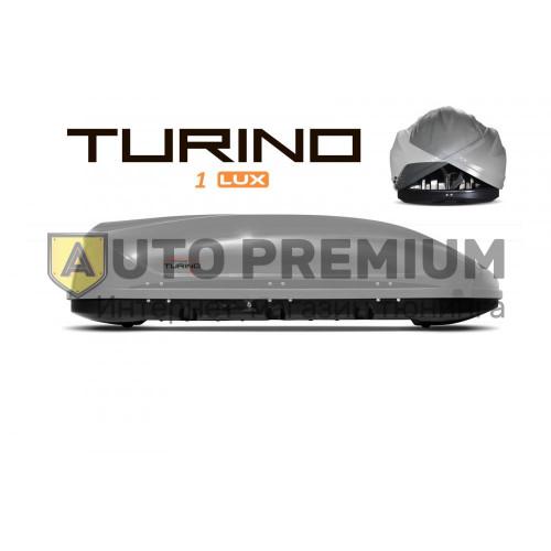 Автобокс на крышу Серый Turino 1 LUX (410 л) Аэродинамический с двусторонним открыванием на крышу автомобиля